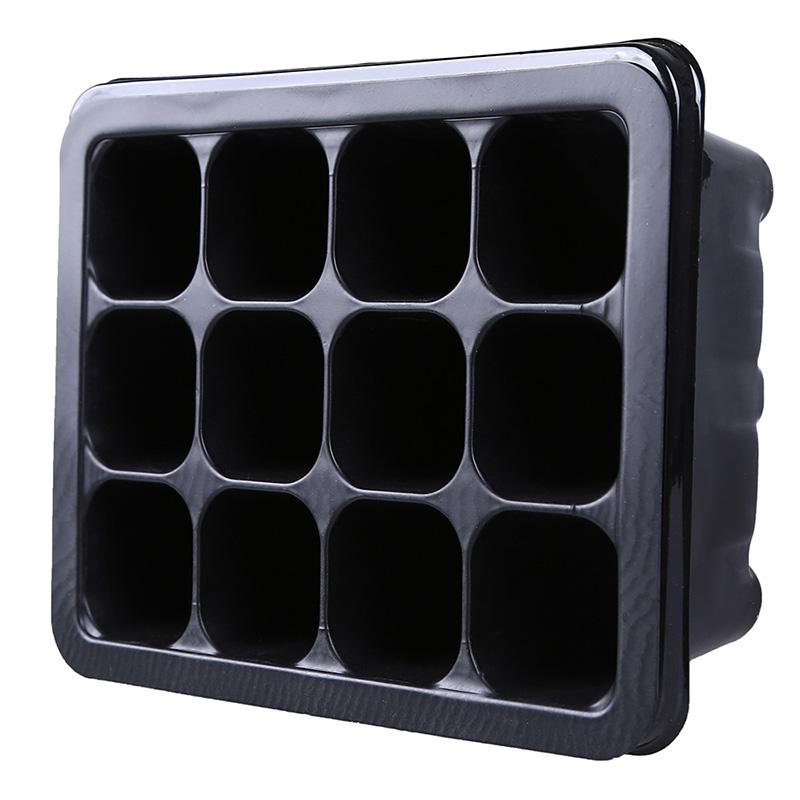12 Cell Seedling Tray Black Propagation Tray Flower Pot Plug Plant Kit Nursery Pots Plant Seed Cloning Case Insert Clone Grow Box
