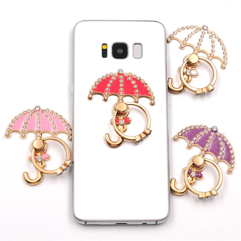 Shiny Finger Ring Phone Holder Bling Diamond Unique Cell Phone Holder For iPhone X 8 7 6s Samsung S8 Universal Cellphone Stand Mixed Colors