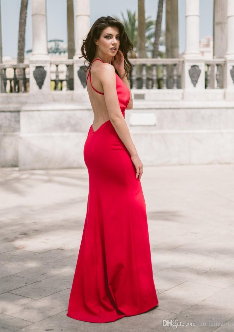 Barato Red 2018 Vestidos de baile con cuello en V profundo Criss Cross Correas Diseño posterior Frente Sexy Vestidos de noche divididos
