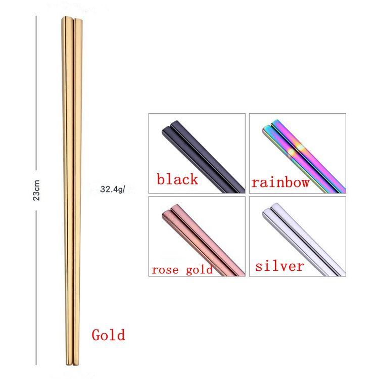 Chinesisch Japanisch Koreanisch Stäbchen Regenbogen Länge 23cm Essstäbchen Food Grade Top 304 Spiegel poliert Edelstahl Geschirr