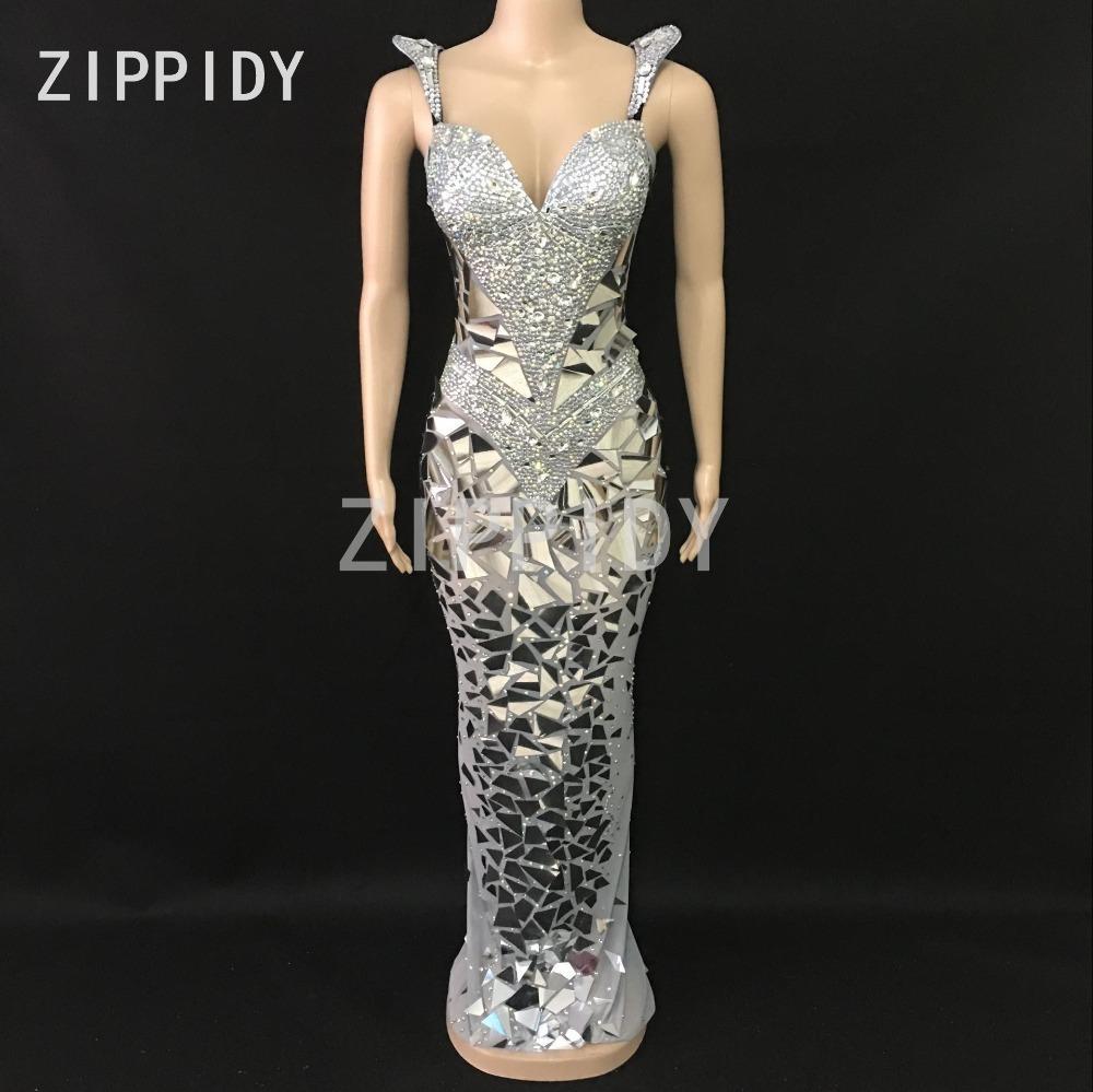 low priced 60fda 98be6 Le scintillanti paillettes argento strass paillettes maglia abito lungo da  donna per celebrare il vestito da nightclub femminile cantante sexy vestito  ...
