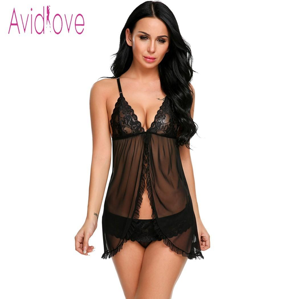 1cc9d3b4f Avidlove Erotic Lace Underwear Sexy Lingerie Sexy Hot Erotic Babydoll Dress  Women Lace Open Front Night Gown Mini Sex Clothing D18110701 Satin Chemise  ...