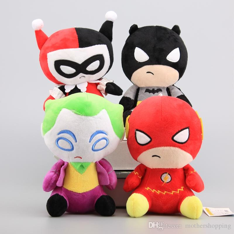 4 Styles Superhero Figures Justice League Plush Toys Flash & Batman Joker Harleen Quinzel Stuffed Dolls Kids Gift