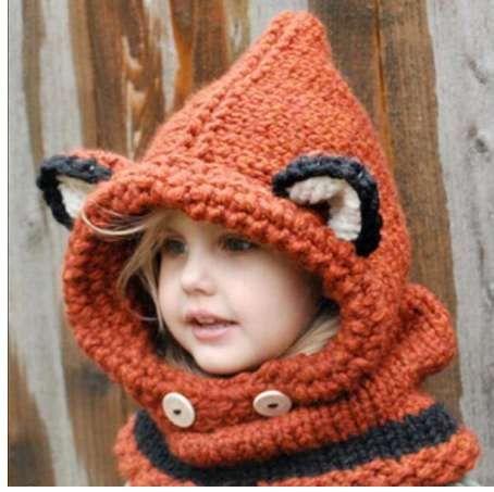 1 7 Years Baby Girls Hats Handmade Kids Winter Hats Wrap Fox Scarf
