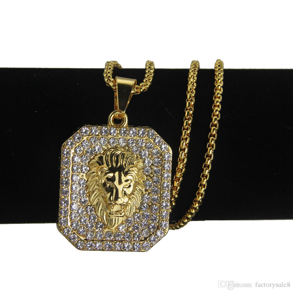 acafe861876 Wholesale Lion Head Pendants Necklace High Quality Fashion Hiphop 74cm Long  Gold Color Plated Statement Necklace Chain Men Jewelry Gold Chains For Men  Star ...