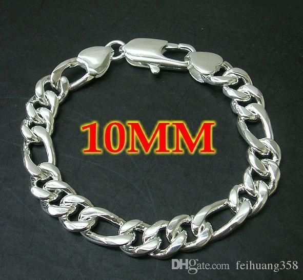 Toptan Ucuz Yeni Moda 10mm erkek Figaro Bilezik 925 gümüş Zincirler 7.5