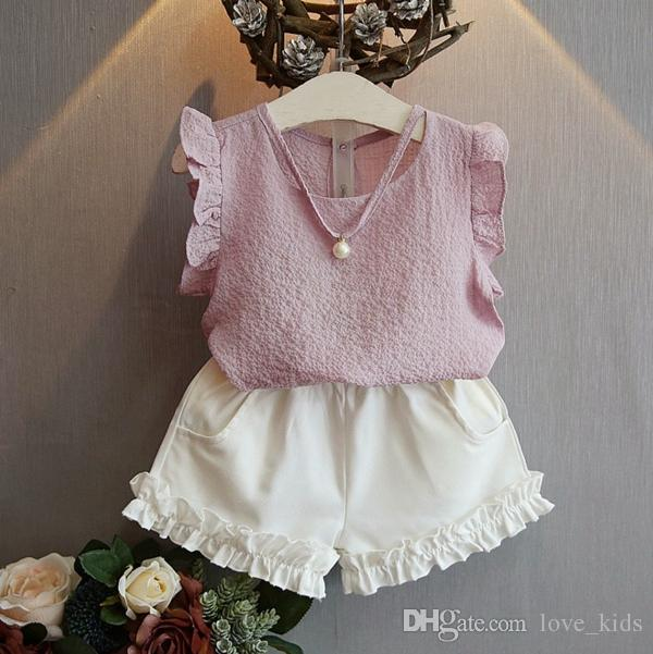 New children girls outfits baby girls Chiffon top+ Short kids girls summer clothes suit child pearl chiffon clothing