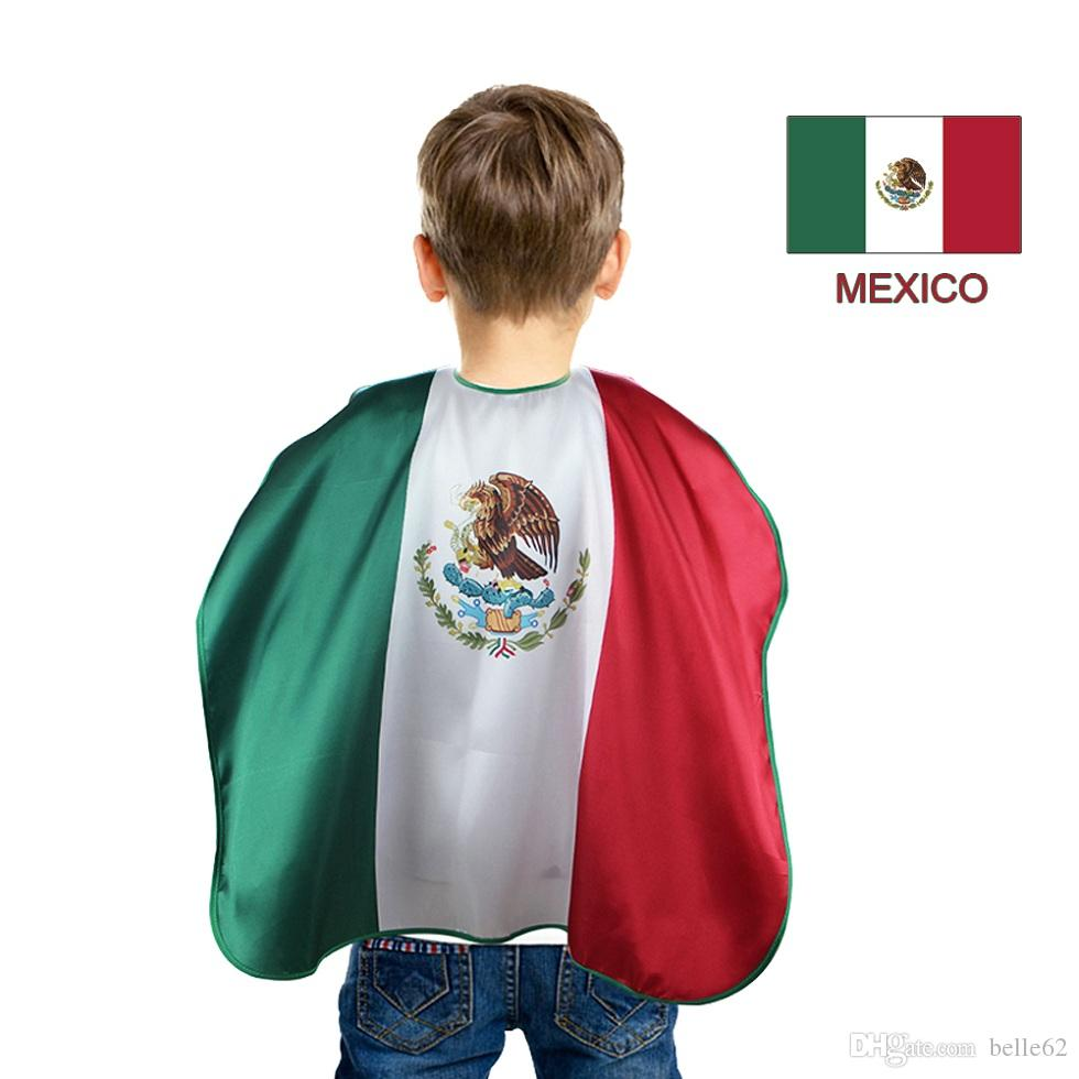 054f802c895af9 2019 Special 70 70 Cm Mexico National Flags Cosplay Cape Gifts Decorative  Outfits Fancy Dress Stripes Outdoor Soft Home Souvenir From Belle62