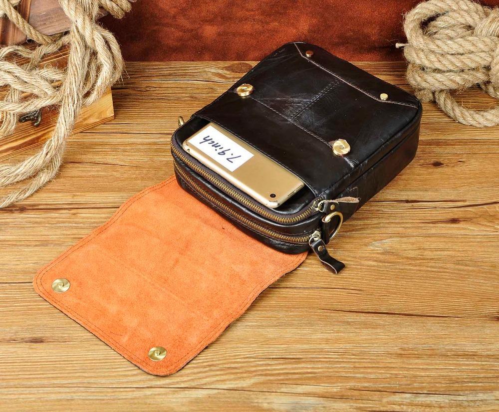 "Quality Leather Male Fashion Casual Tote Messenger bag Designer Satchel Crossbody One Shoulder bag 8"" Tablets Pouch For Men 151"
