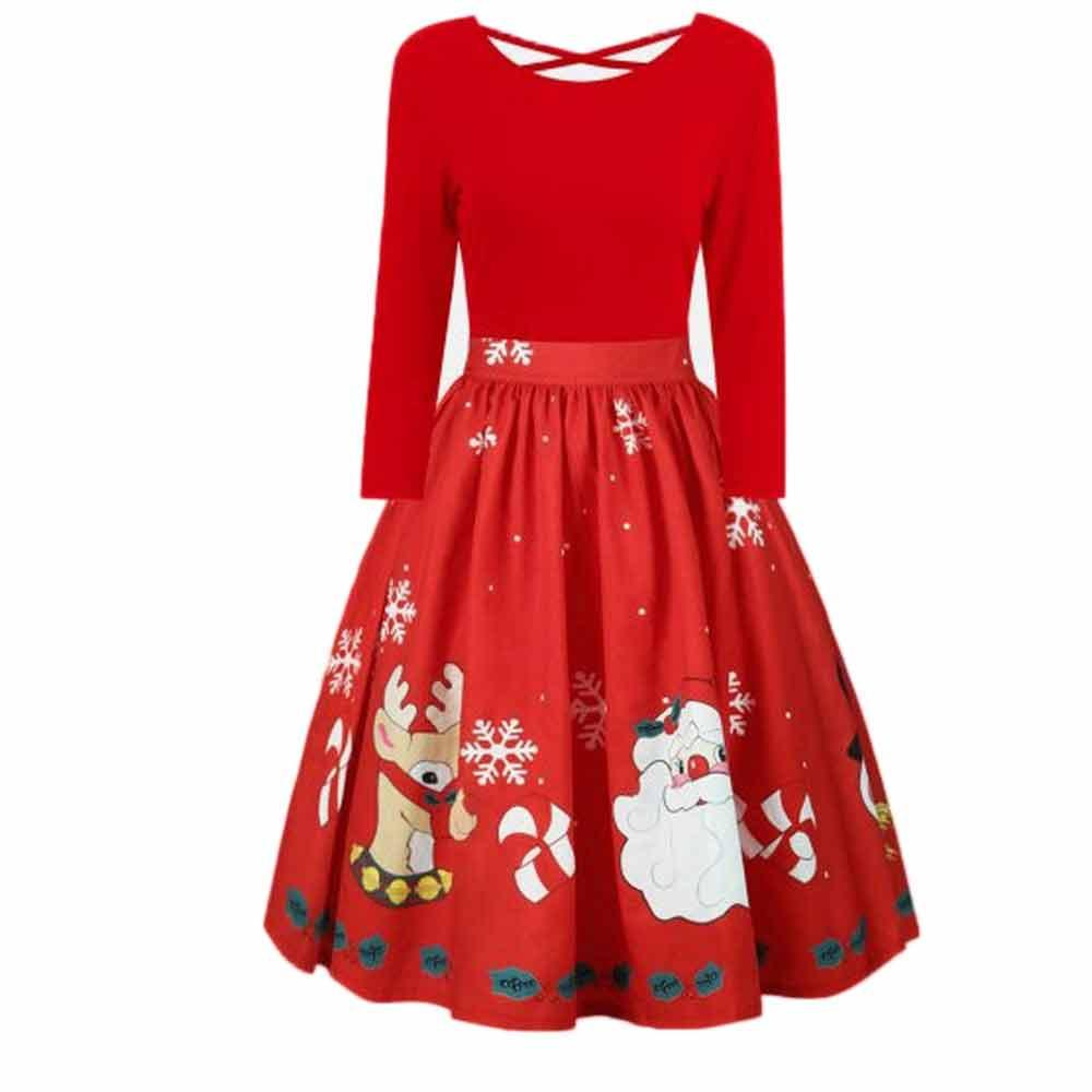 7fa9eeed757a Invierno Navidad Año nuevo Vestido festivo de fiesta vintage Las señoras  ahuecan hacia fuera el vestido atractivo de manga larga de las mujeres ...
