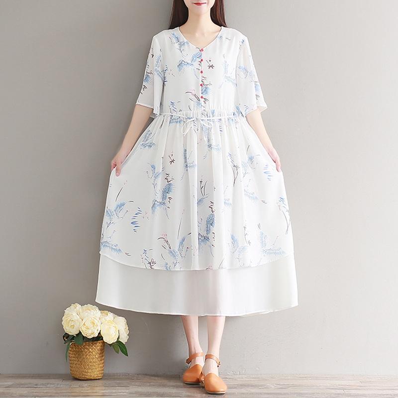 289db576143b 2019 Mori Girl 2018 Summer Vintage Floral Printed Dresses For Women Japanese  Elegant Dress Boho Sweet Chiffon Midi Dress Vestidos From Freea
