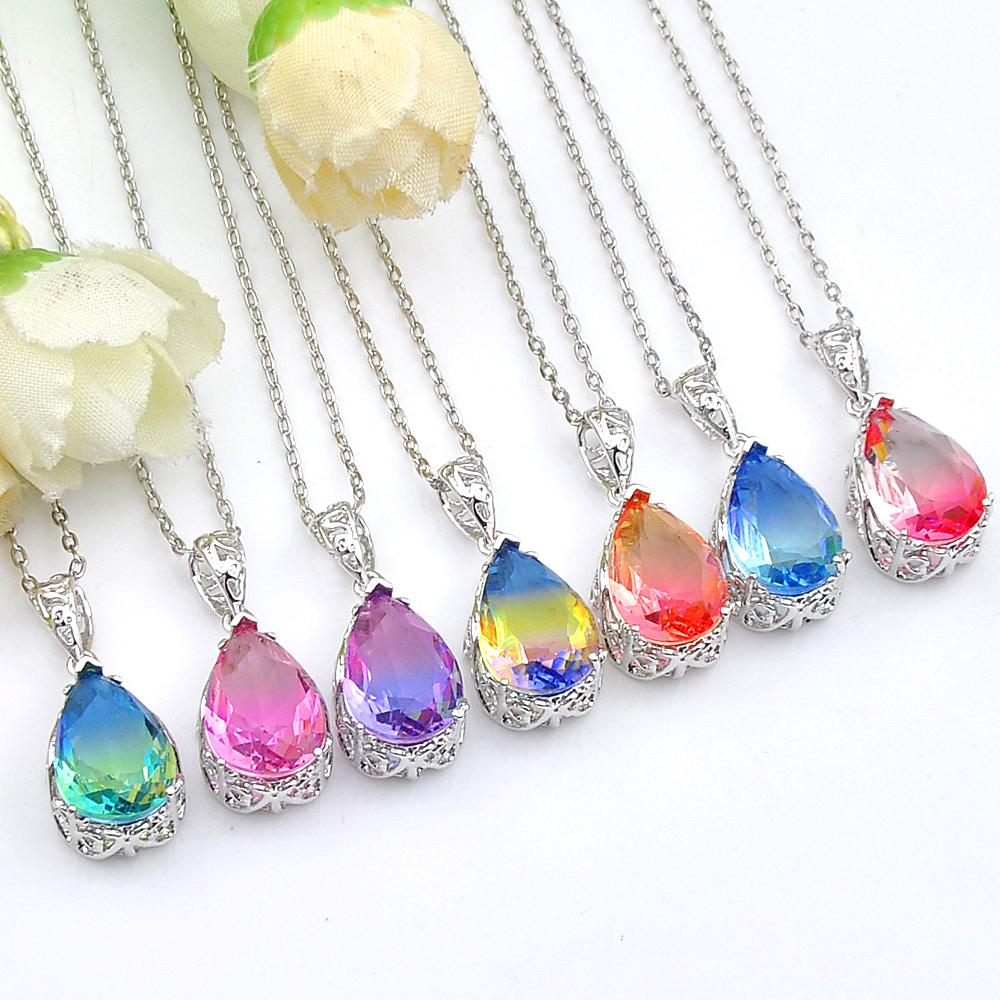 Valentine's 12 pcs/lot 925 sterling silver small and exquisite Gradient BI-COLORED Tourmaline Necklaces Pendant for lady party gift