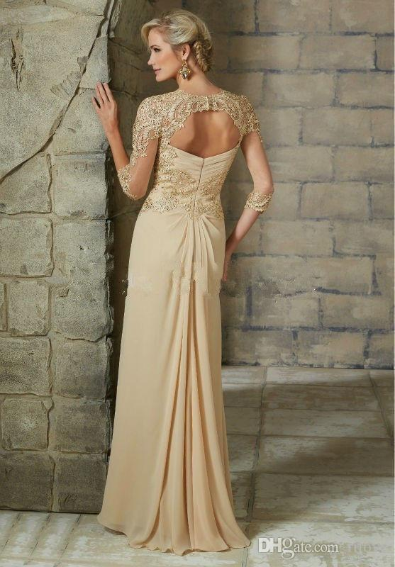 Elegant Chiffon Mother of the Bride Dresses Lace Formal Evening Gowns Plus Size In Stock Mother of the Bride Dresses