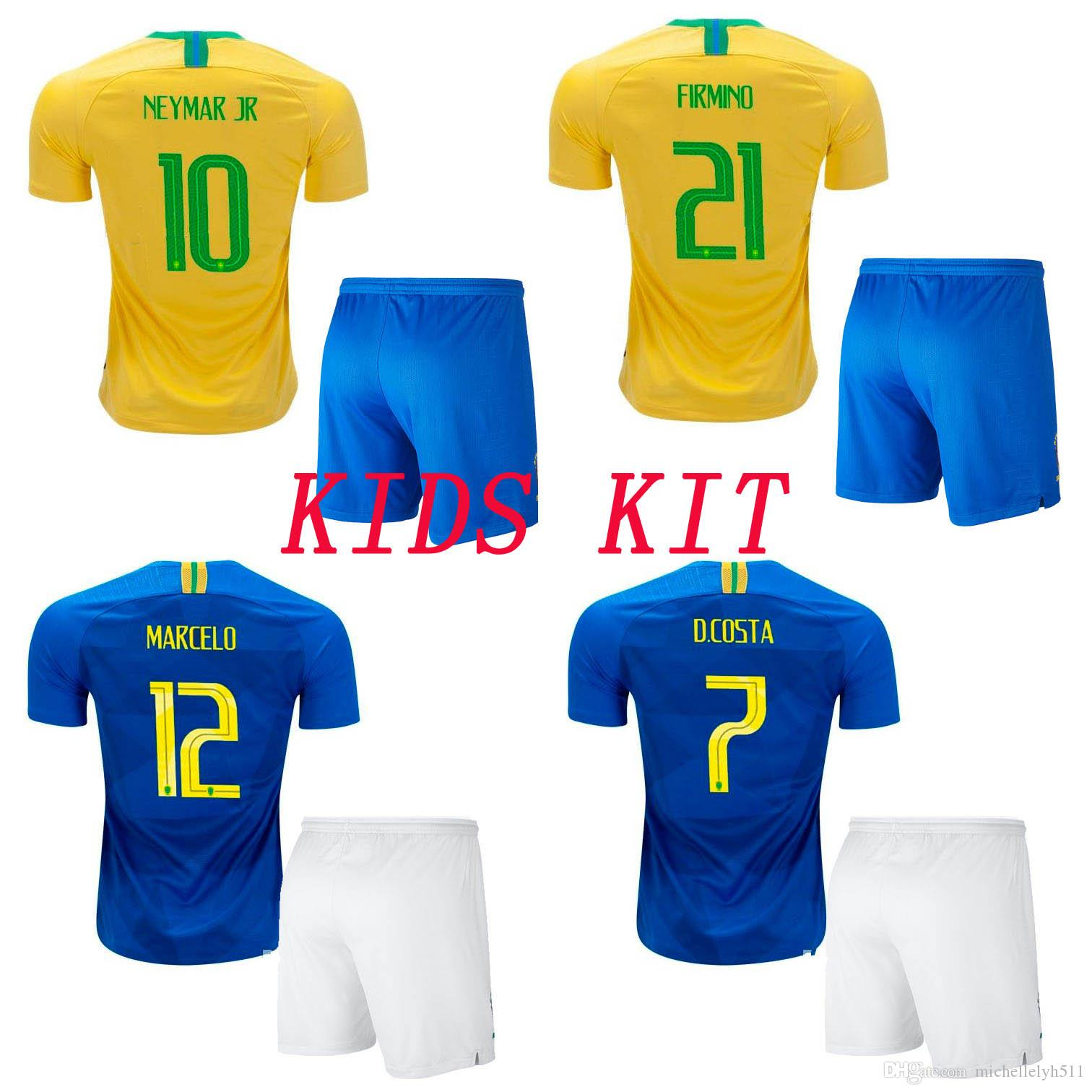 2019 18 19 Kids Soccer Jersey Shorts 2018 G.JESUS Paulinho COUTINHO Football  Set Boys Short Sleeve Soccer Kits Children Outdoor Sport Uniforms From ... 924148f7f