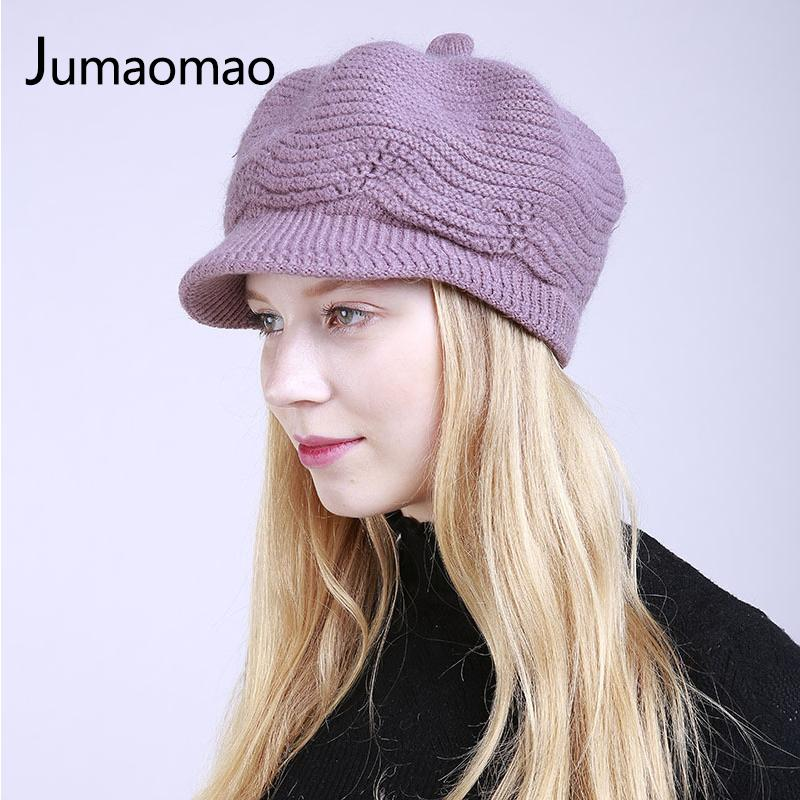 5d2ff513 Jumaomao New Women Winter Hat Warm Beanies Fleece Inside Knitted Hats For  Woman Rabbit Fur Cap Autumn And Winter Ladies Fashion Knit Beanie Cap Shop  From ...