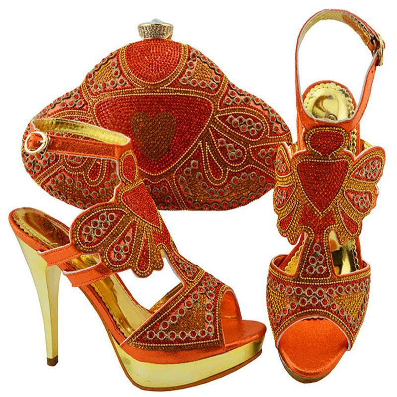 Acquista Jzc004 Scarpe E Borse Di Corrispondenza Di Colore Arancione  Italiano In Donne Scarpe E Borsa Italiane Le Donne Set Di Scarpe E Borsa Da  Sposa ... 0de44acac28