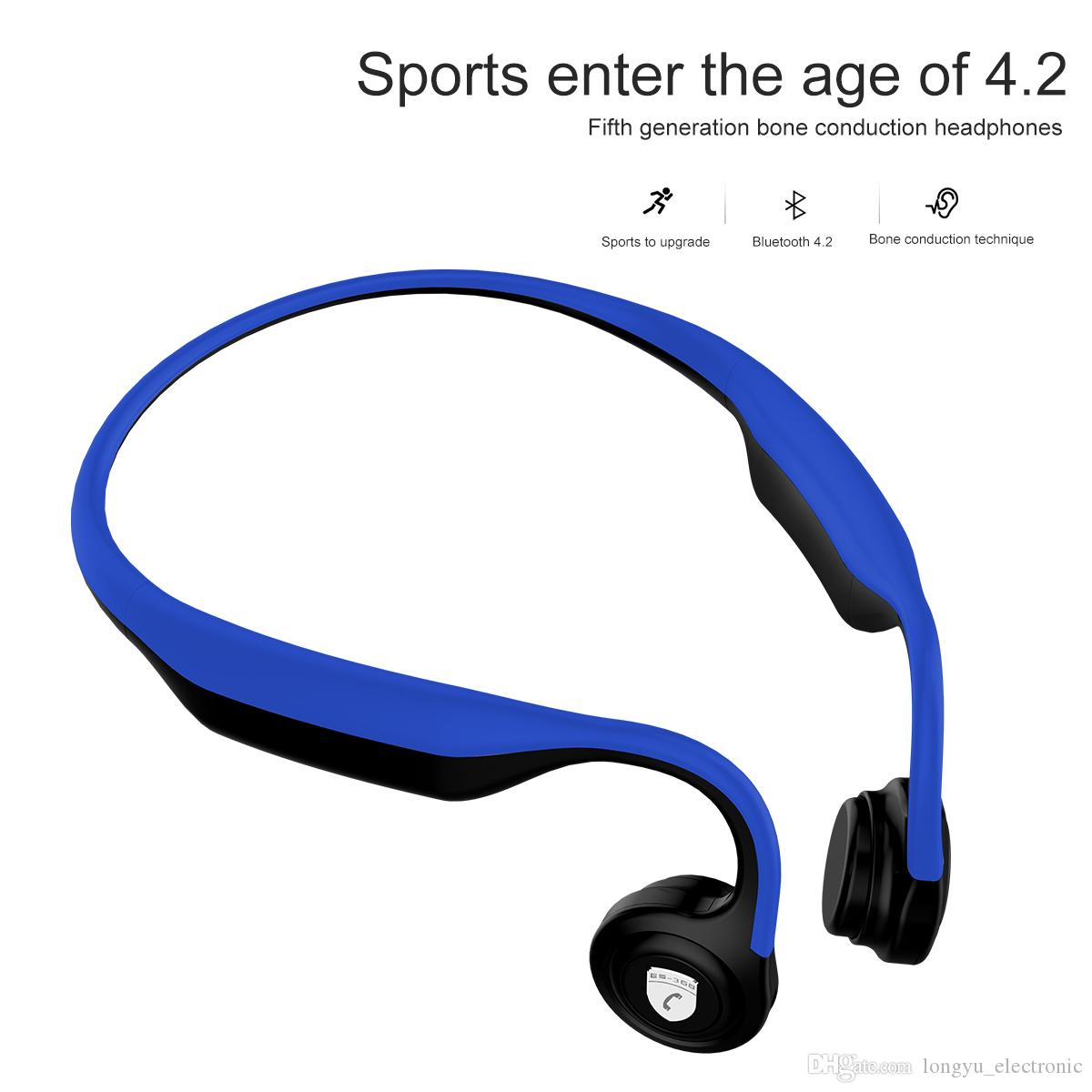 2018 Newest Bone Conduction Bluetooth V4 2 headphone sweat proof sports  headphone compatable with Android ,IOS mobile phones 368