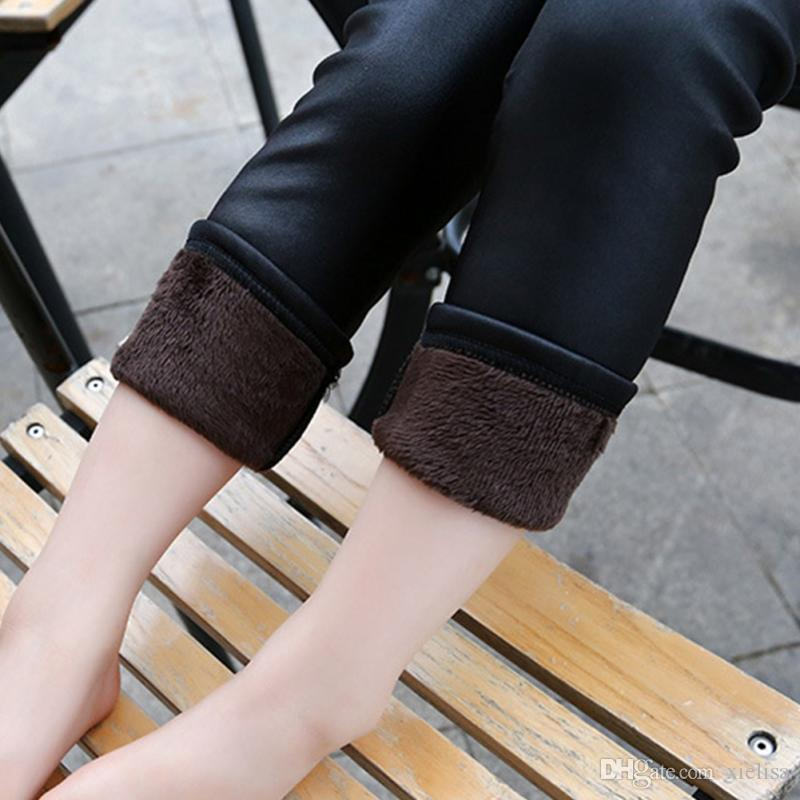 Baby Girls Black Leggings Winter Kids Slim Thicken Velvet Pencil Pant Children Warm Trousers PU Leather Stretchy Legging
