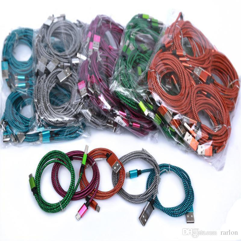 Android USB Cable Adapter 1M 3FT Colorful Aluminum Braided Cable Fiber Woven Charger Cord For Samsung Google ZTE LG