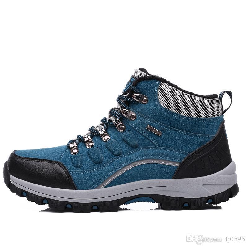Compre Sapatos Ao Ar Livre Casal Sapatos De Caminhada De Alta Não  Deslizamento Resistente Ao Desgaste Além De Veludo Quente Caminhadas Cross  Country Sapatos ... 1cdea7c50e936