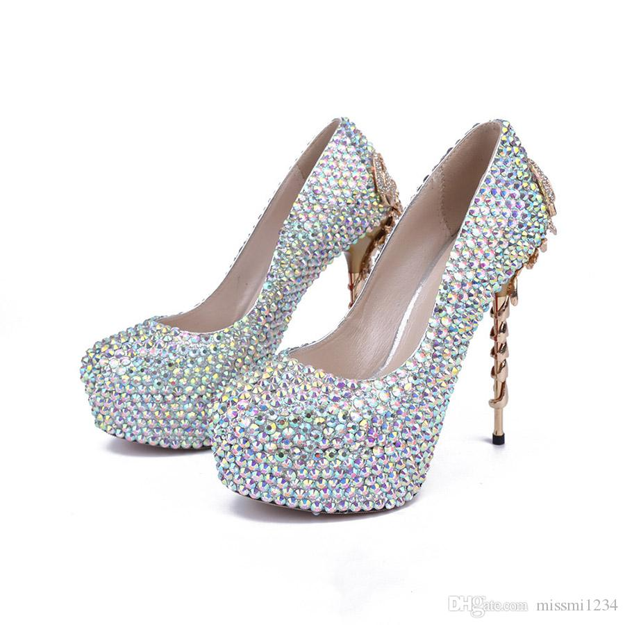 bb48a14824 14 CM Platform High Heel Shoes for Ladies Luxury Rhinestone Scorpion Heel  Sequined High Heels Elegant Banquet Wedding Stiletto Heel Shoes