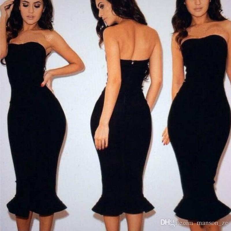 78671b89f4b7 2018 Sexy Strapless V Neck Padded Mermaid Dress Bodycon Dresses Women  Elegant Party Dress Halter Fishtail Midi Club Backless Summer Dress  Clubwear Dresses ...