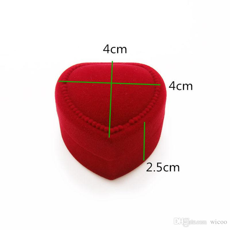 Mini Cute Red Carrying Foldable Case Display Jewelry Box Packaging Durable Red Heart Shaped Lid Open Velvet Ring Box