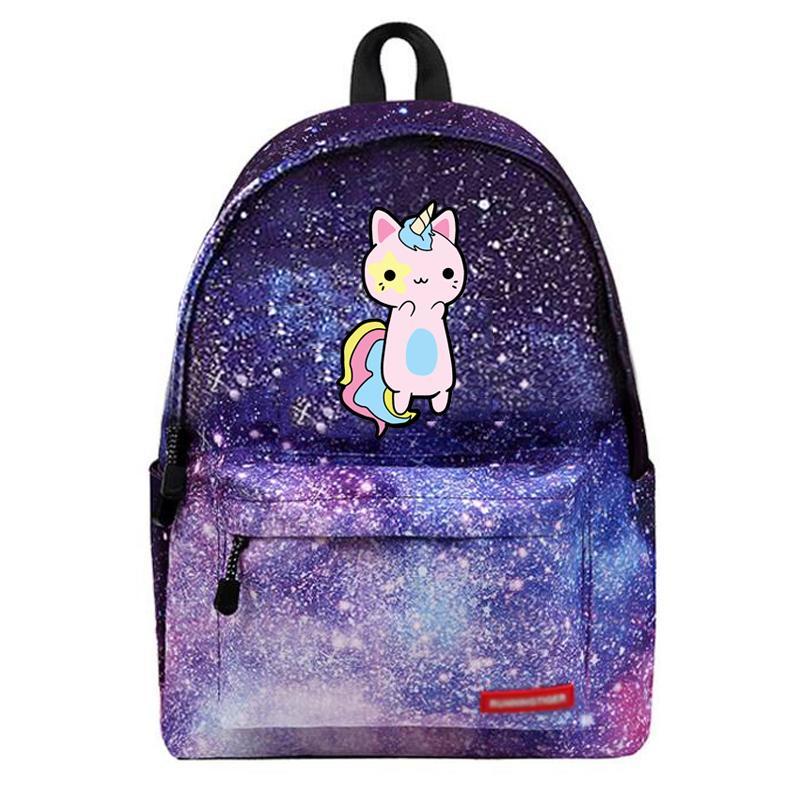 Compre 2018 Gato Dos Desenhos Animados Mochila Unicórnio Bonito Adorável  Queijo Gato Galaxy Sacos De Escola Saco De Viagem Estrelas Universo Espaço  De ... 8b369f7bf1