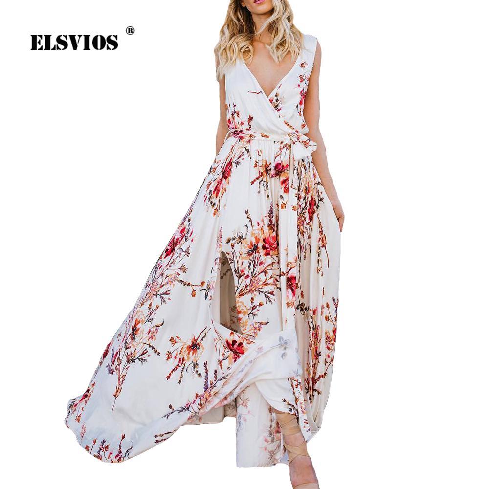 ELSVIOS Women Long Maxi Dress Sexy Deep V Neck Floral Print Split Beach  Dresses 2018 Summer Sleeveless Boho Dress With Belt Light Purple Dresses  For Juniors ... 5f122d802
