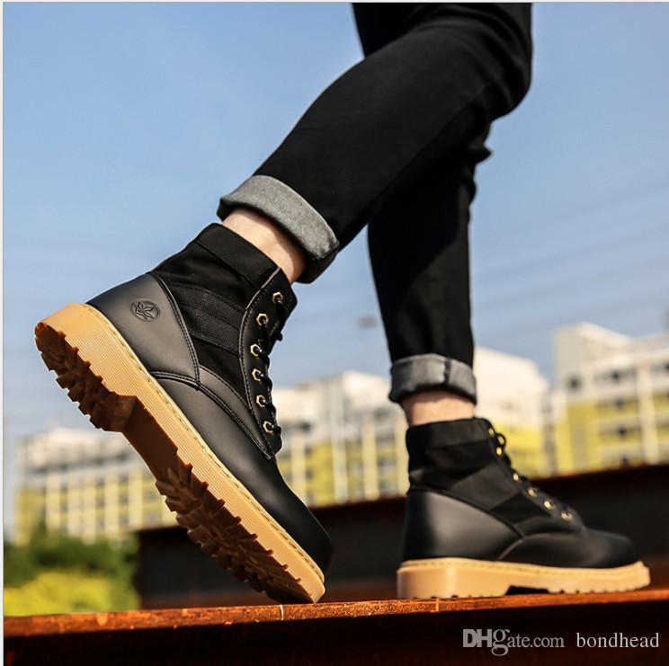 Sonbahar ve kış moda yakışıklı dikiş ucuz ayakkabılar, rahat açık kayma dantel erkek botları toptan moda