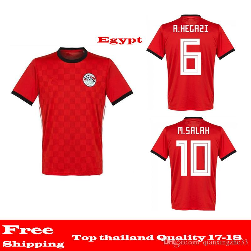 d8f5df9f9 Wholesale 2018 Egypt Soccer Jerseys M. SALAH World Cup Home Red KAHRABA National  Team Men Short Sleeve Footbal T Shirt Maillot De Foot Soccer Jerseys M. ...