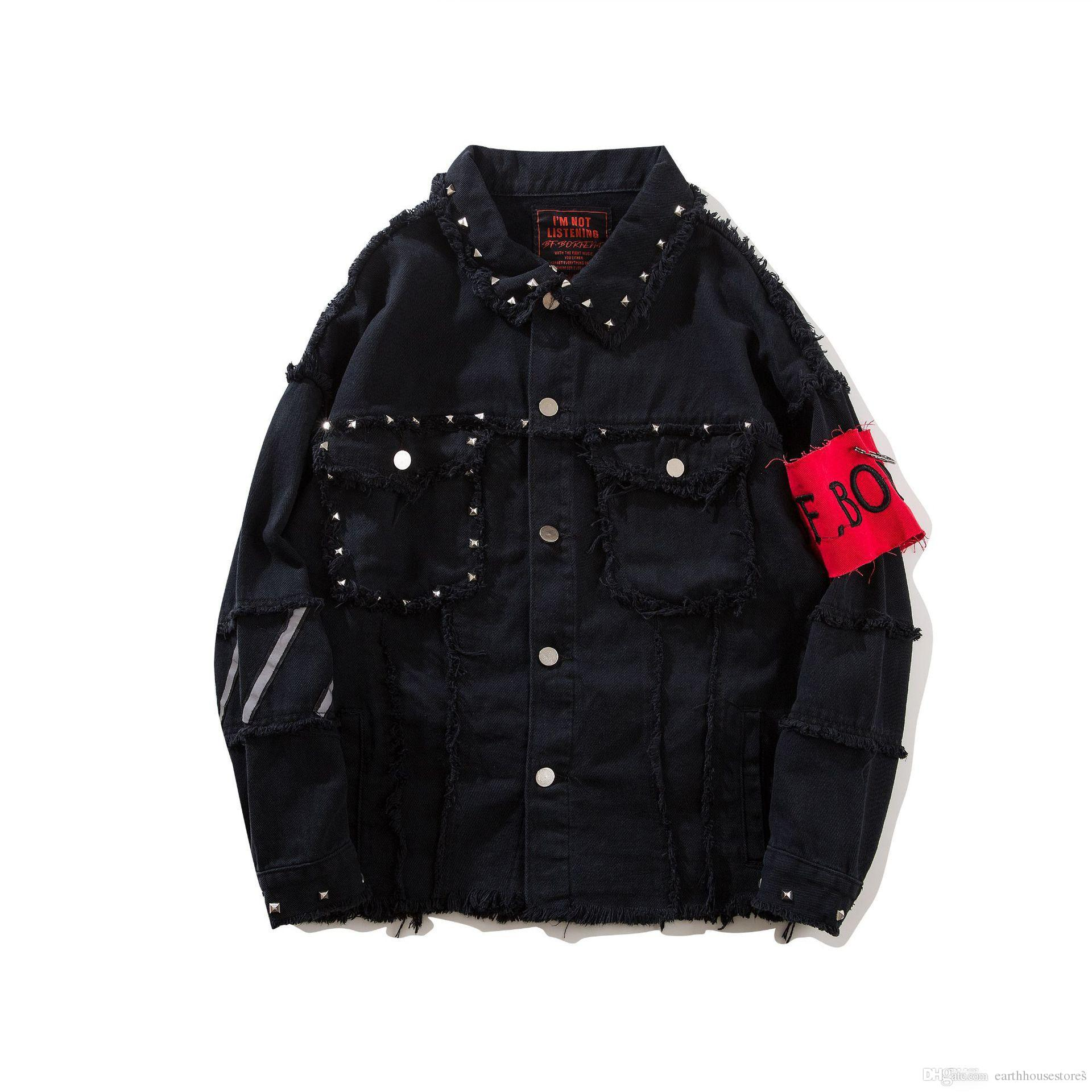 ba0a4b4f9a 2018 Fashion Mens Denim Jackets Rivets Decorated Embroidered Patches Black  Jean Jacket Arm Bandage Homme Streetwear Free Shipping