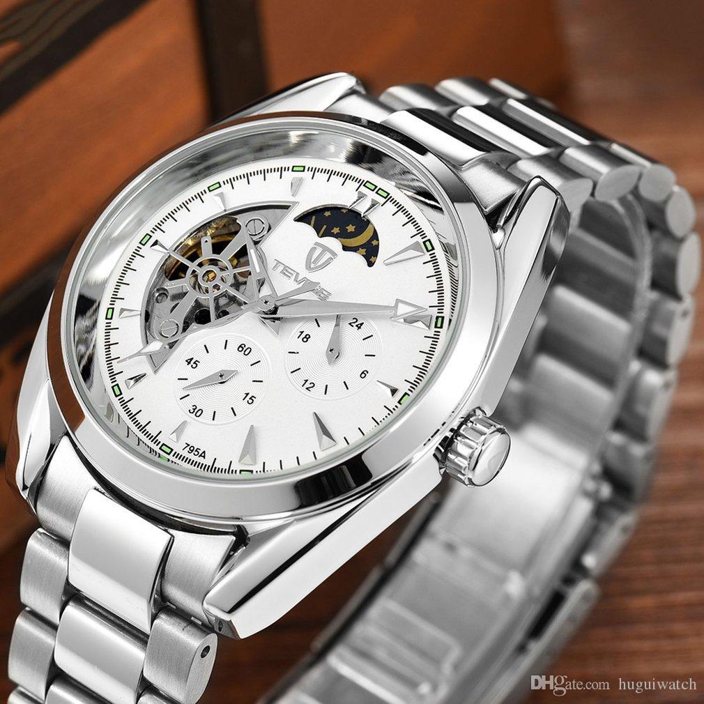 790412b3cfd Compre Tevise Homens Relógios Mecânicos Relógio De Luxo Luminoso Relógio  Automático Masculino Relógio De Negócios Fase Da Lua Relógio De Pulso De  Huguiwatch ...