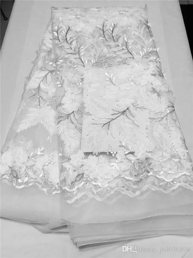 Benzersiz klasik Aqua Fransız Dantel kordon nakış küçük payetler ile Afrika tül dantel kumaş Allover aplikler