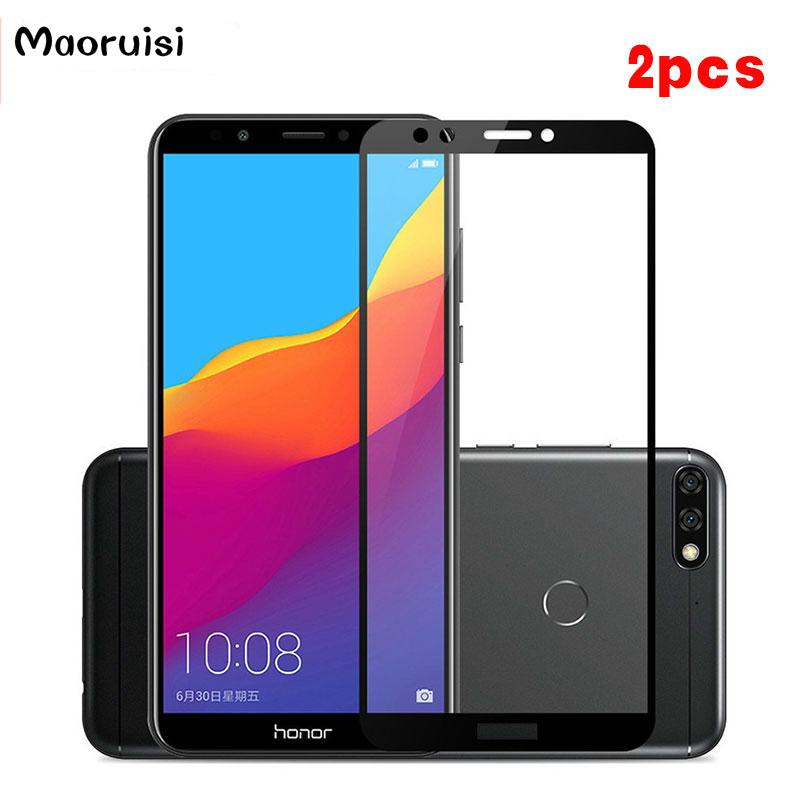 2pcs For Tempered Glass Huawei Y7 Prime 2018 Screen Protector For Huawei Y7  2018 Full Cover Glass Film For Y7Prime 2018