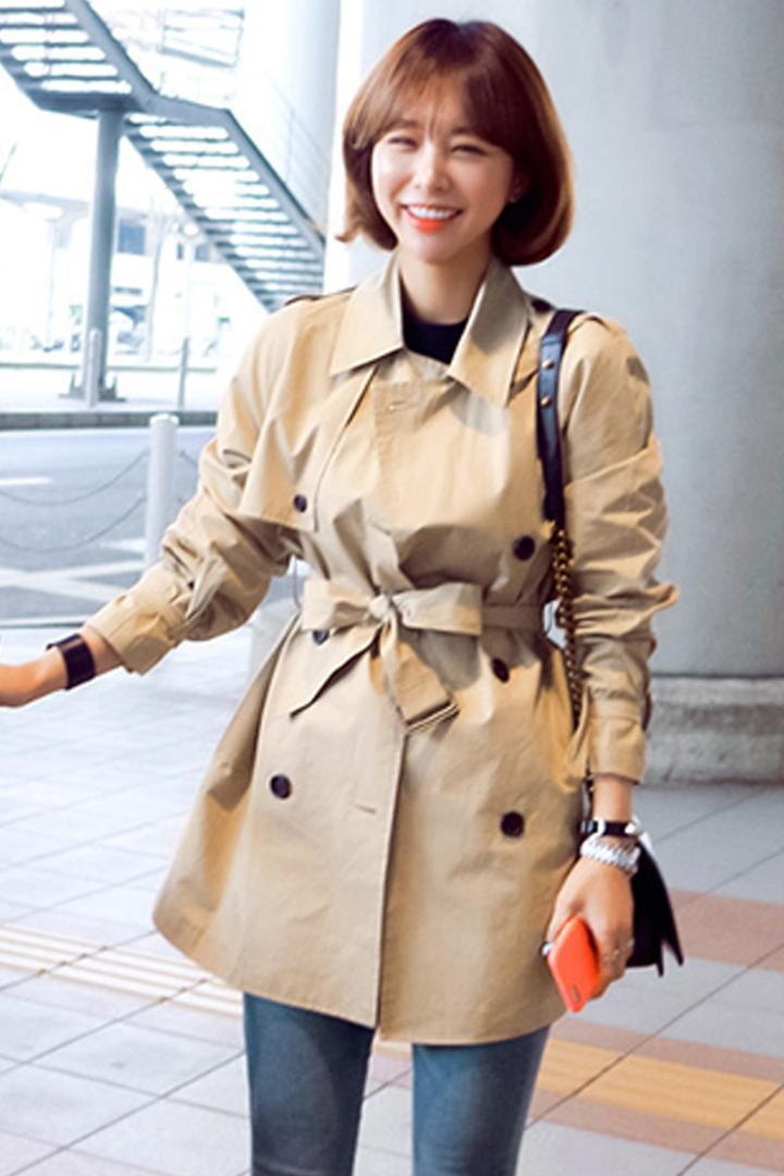 100a603ea4bd Fashion New Womens Trench Coats Korean Belt Turn-down Collar ...