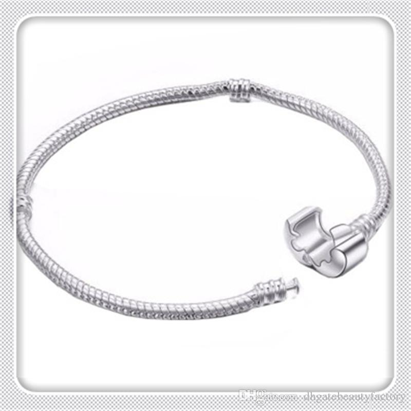 Hot Birthday Gifts Silver Plated Basic Snake Chain Bracelet DIY Charms Beads Jewelry Original Pan Bracelets Bangles Gifts for Women Free DHL