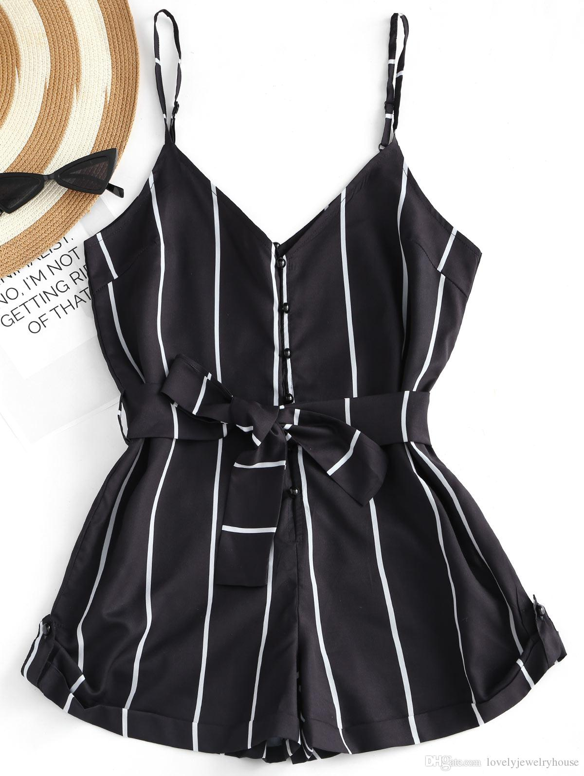 fcebfcfdf24 2019 2018050938 Summer Women Stripe Romper Jumpsuit Sexy V Neck Bowknot  Belted Jumpsuit Bodysuit Button Up Strapless Overalls Playsuit From ...