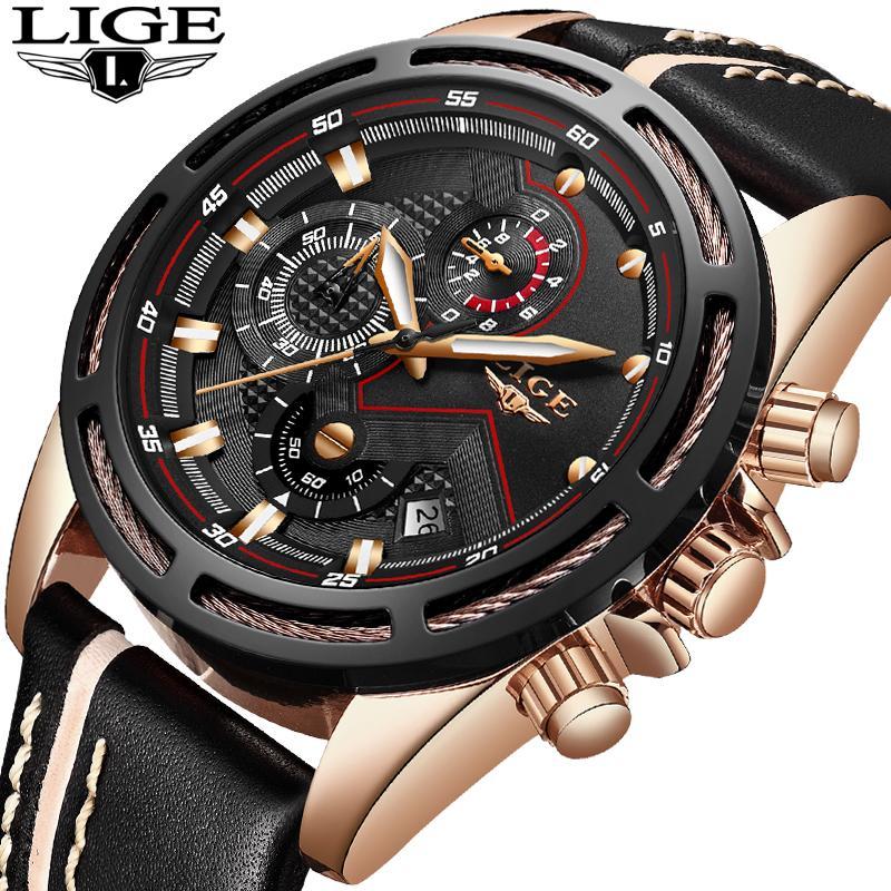 Compre LIGE Reloj Hombres Moda Deporte Relojes De Cuarzo Reloj De Cuero  Para Hombre De Primeras Marcas De Lujo Impermeable Negocios Reloj De Oro  Relogio ... 50e16af926bf