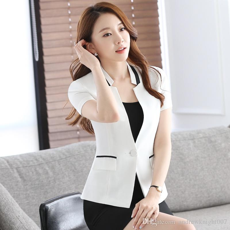S 4xl Fashion Women Formal Blazers Suit Coat With Skirt Short Sleeve