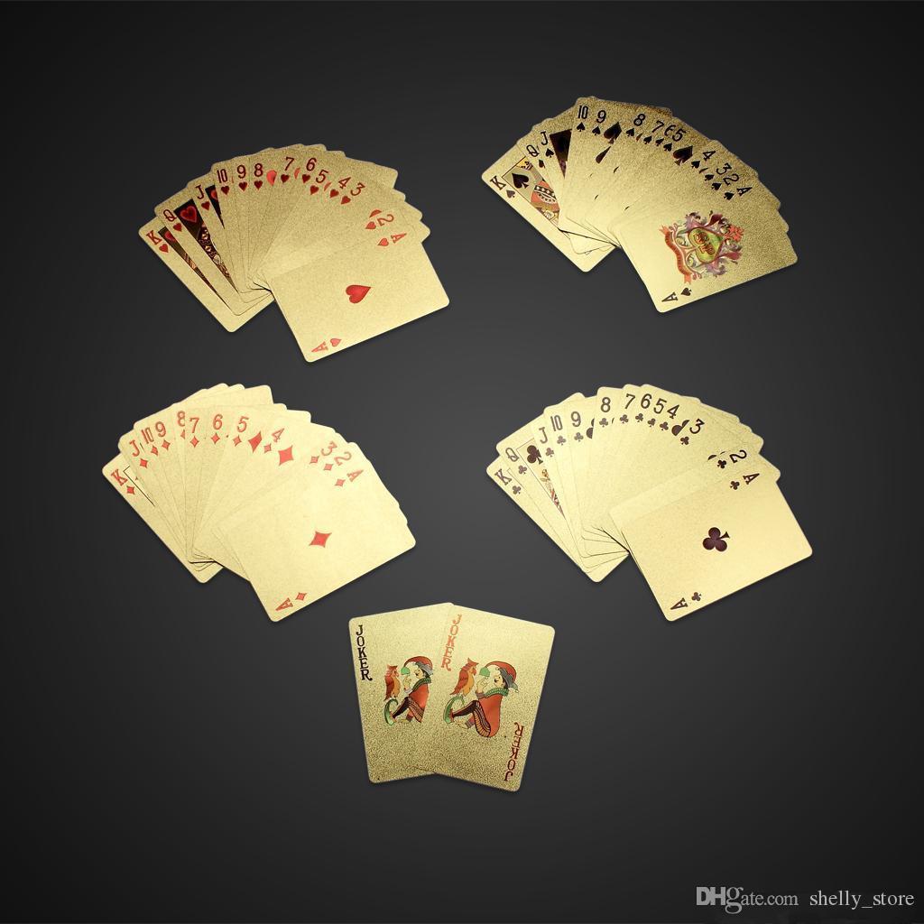 Игральные карты для покера с золотой фольгой 24K Каратная игра в карты для покера с золотой фольгой Коллекция долларов США