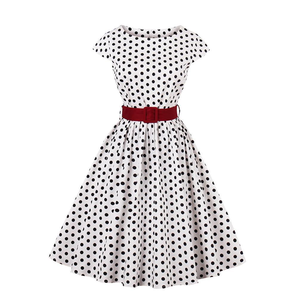 Acquista Donne Hepburn Style Anni  50 Anni  80 Vintage Polka Wave Dot Abiti  Retro Rockabilly A Line Swing Dress Cocktail Party Con Cintura 4xl A  30.44  Dal ... 4212fbd7f1f