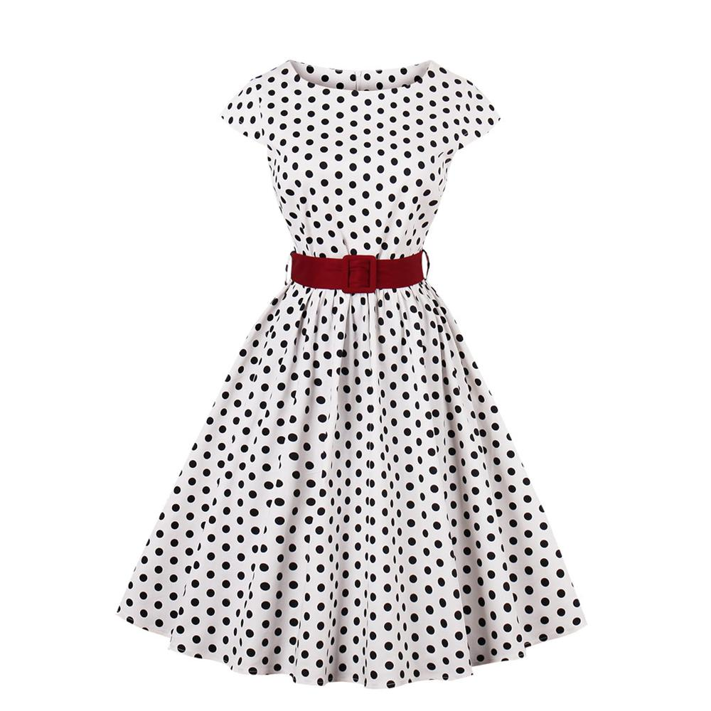 cc98b816ce6 Women Hepburn Style 50s 60s Vintage Polka Wave Dot Dresses Retro Rockabilly  A-line Swing Dress For Cocktail Party With Belt 4xl