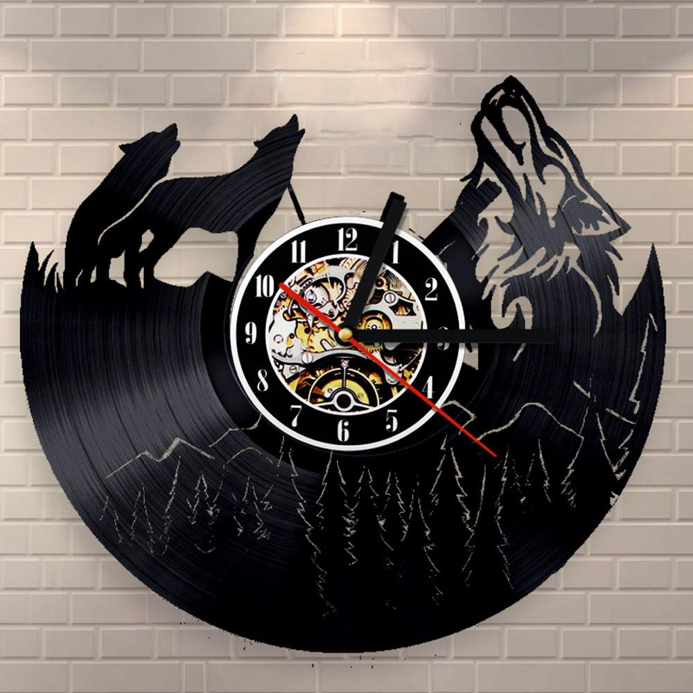 Free Shipping 1Piece Wolf  Record Wall Clock Unique Bedroom Kitchen Wall Decor Cool Unique Modern Design 3D Digital Clock