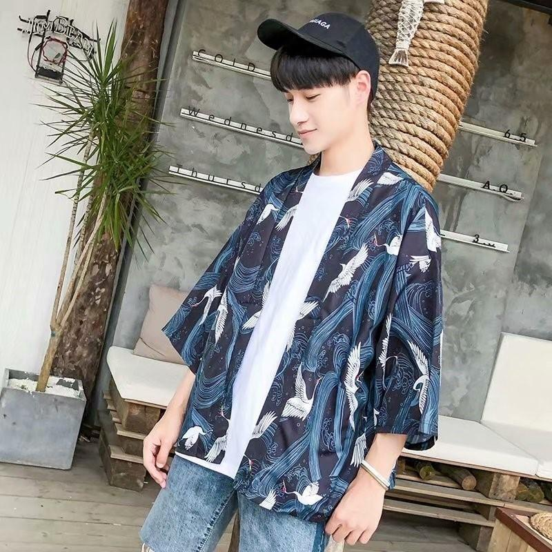 afdc8e6b180e 2019 2018 Summer Men S Japanese Style Fashion Casual Loose Cardigan Blue  Cotton Clothes Brand Short Sleeves Outwear Shirts M 2XL From Junqingy