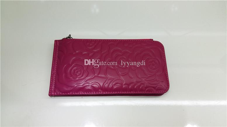 Große beliebte einzigartige Kamelie Blumendruck lange Kartenhalter Kleid Cluth Handy Pocket Wallets innen und außen echtes Leder