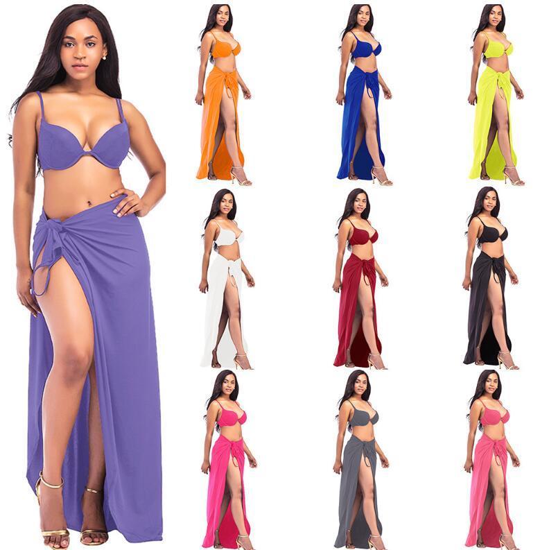 b641f3fd6c Beach Bandage Solid Dress V Neck Bikini Wrap Cover Up Backless Long Maxi  Tunic Dress Loose Casual Sexy Sleeveless Club Skirt LJJG633 Ladies Dress  Designer ...