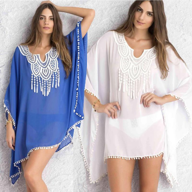 4cb2eea44f2 2019 Tassel Beach Plus Size Blouses Women Boho V Neck Lace Up White Tunic  Top Bikini Cover Kimono Shirt Blusas From Baxianhua, $33.03 | DHgate.Com