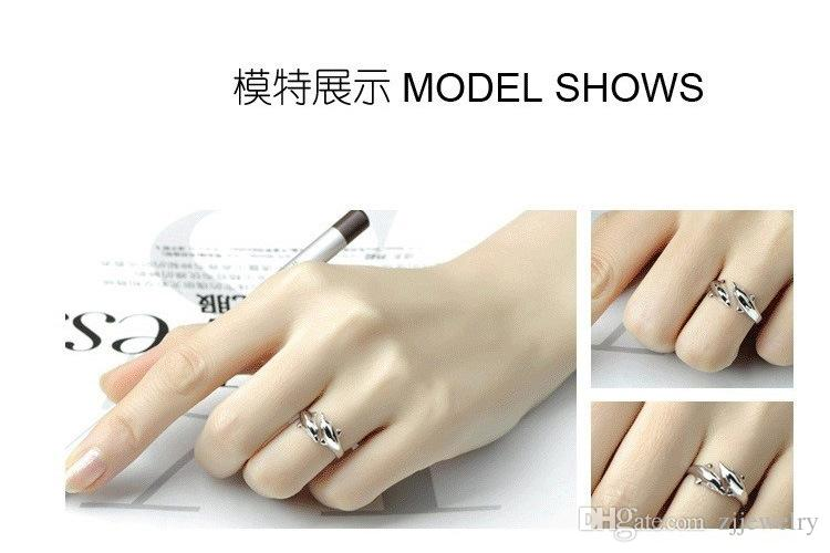 2018 Brand New Fashion Wholesale Rings Jewelry S925 Silver Fine Dolphin Rings Tail ring Adjustable Size drop shipping