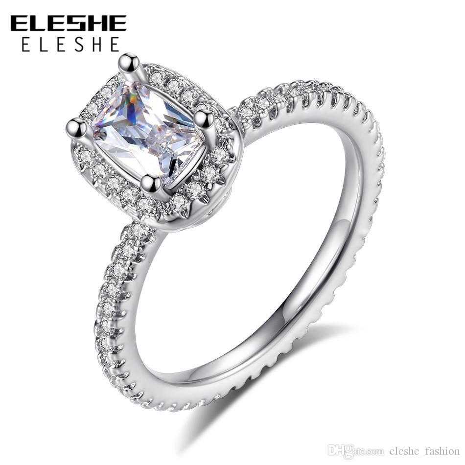 c26d6bb8b363 Compre ELESHE Plata Claro Cristal Anillos De Dedo Diamantes Simulados Anillo  De Bodas Para Las Mujeres Encajan Joyería De Compromiso De La Boda Regalo  ...